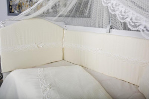 Lenjerie MyKids 11 piese Cream color cu baldachin 120x60 cm