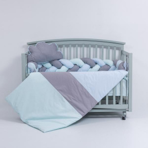 Lenjerie MyKids 6 piese Gray-Blue fara baldachin 120x60 cm