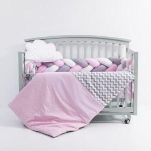 Lenjerie MyKids 6 piese Gray-Pink fara baldachin 120x60 cm
