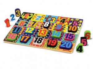 Melissa and Doug - Puzzle lemn in relief Numere de la 1 la 20