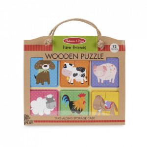 Primul meu puzzle eco din lemn Prieteni de la Ferma - Melissa & Doug