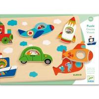 Puzzle Djeco, Vehicule cu surprize