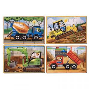 Set 4 puzzle lemn in cutie Vehicule pentru constructii Melissa and Doug