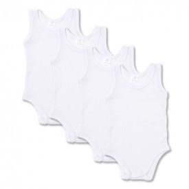Set 5 body-uri din bumbac albe fara maneca - tip maieu