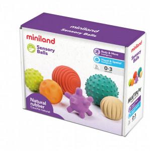Set 6 mingi senzoriale din cauciuc natural ECO pentru bebelusi
