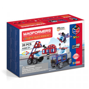 Set magnetic de construit- Magformers, masini de interventie