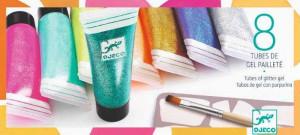 8 Culori cu sclipici Djeco, glitter gel