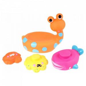 Jucarie de baie Melc cu 3 Animale Marine Eddy Toys Portocaliu