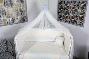 Lenjerie MyKids 11 piese Cream albastru cu baldachin 120x60 cm