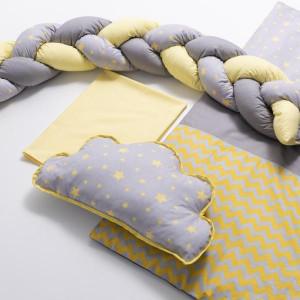 Lenjerie MyKids 8 piese Gray-Yellow cu baldachin 120x60 cm