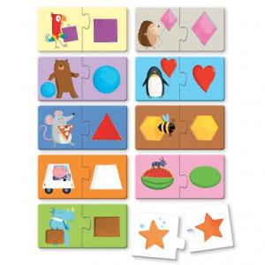 Puzzle (20 piese) cu carte - Forme