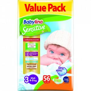 Scutece Babylino Sensitive Economy N3 4-9 luni/56buc