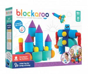 Set cuburi din spuma cu magnet Blockaroo, Castel 35 piese