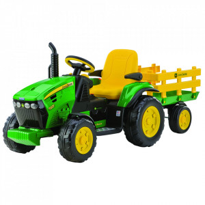 Tractor electric Peg Perego JD Ground Force w/trailer, 12V, 3 ani +, Galben /Verde