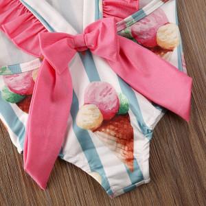 Costum de baie cu Inghetata si dungi turcoaz