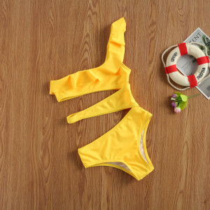 Costum de baie galben decupat
