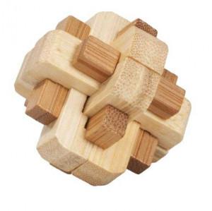 Joc logic IQ din lemn bambus in cutie metalica-5