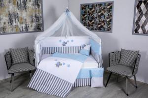 Lenjerie MyKids 9 piese Elephant gri-albastru fara baldachin 120x60 cm