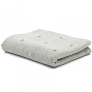 Patura tricotata 100% bumbac grey pink Fillikid