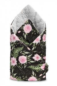 Paturica nou-nascut Sensillo Velvet Wrap Flori Negre 75x75 cm
