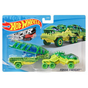 SET CAMION SI MASINA SPORT HOT WHEELS FOSSIL FREIGHT