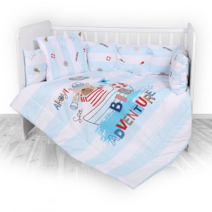 Set lenjerie 8 piese cu protectii laterale, Blue