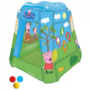 Cort de joaca gonflabil John Peppa Pig 85x85x81 cm cu 20 bile