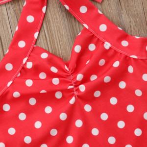 Costum de baie Rosu cu buline