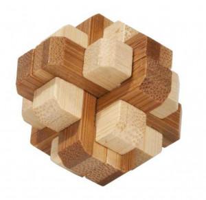 Joc logic IQ din lemn bambus in cutie metalica-4