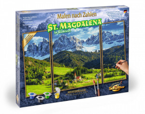 KIT PICTURA PE NUMERE SCHIPPER PRIVELISTE ALPINA IN ST. MAGDALENA, 3 TABLOURI