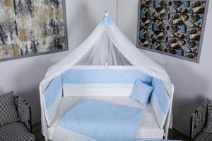 Lenjerie MyKids 9 piese Squars alb-albastru cu baldachin 120x60 cm