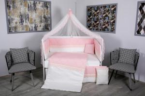 Lenjerie MyKids 9 piese Squars alb-roz cu baldachin 120x60 cm