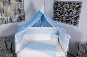 Lenjerie MyKids 9 piese White-Blue fara baldachin 120x60 cm