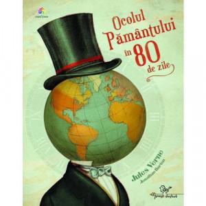 Ocolul Pamantului in 80 de zile - adaptare - Carte povesti pentru copii