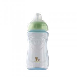 Pahar cu supapa silicon 300 ml Baby blue perl Rotho-babydesign