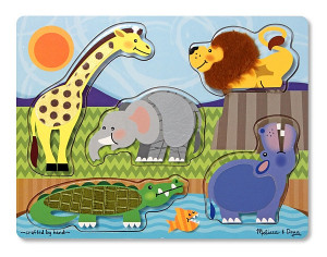 Puzzle de lemn Atinge si descopera Animale Zoo Melissa and Doug