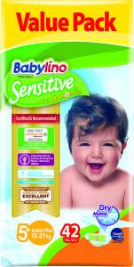 Scutece Babylino Sensitive Valuepack N5+, 13-27KG, 42 buc
