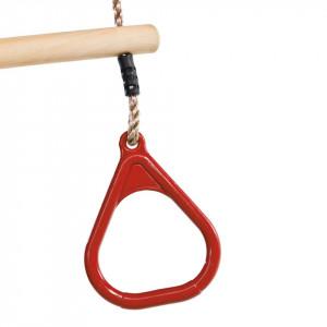 Trapez din lemn cu inele din plastic - PP - rosu