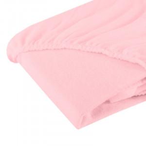 Cearsaf cu elastic din frotir roz 120/60 cm
