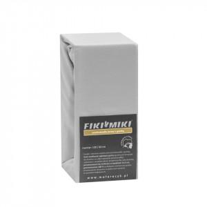 Cearsaf cu elastic jerse bumbac gri 120/60 cm