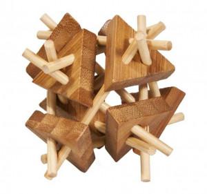 Joc logic IQ din lemn bambus Sticks&triangles