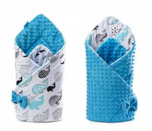 Paturica nou-nascut Sensillo Minky Wrap Albastru 80x80 cm