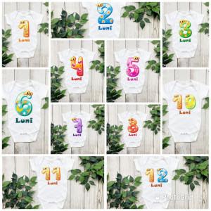 Set 12 body-uri cu lunile bebelusului
