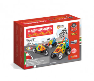 Set magnetic de construit- Magformers Vehicule, 17 piese
