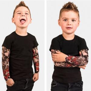 Tricou copii negru cu tatuaj
