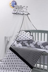 Lenjerie MyKids 8 piese Gray-White cu baldachin 120x60 cm