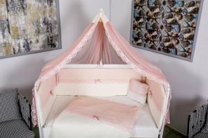 Lenjerie MyKids 9 piese White-Pink fara baldachin 120x60 cm