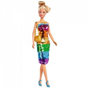 Papusa Simba Steffi Love Swap Deluxe 29 cm cu rochie multicolor