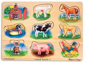 Puzzle lemn cu sunete Animale de la Ferma Melissa and Doug