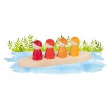 Set 4 figurine din lemn cu barcuta - Aventura cu prietenii tai